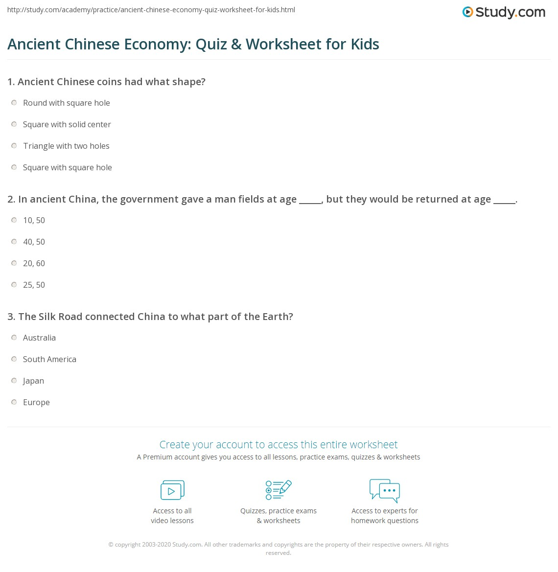 Ancient Chinese Economy Quiz Amp Worksheet For Kids