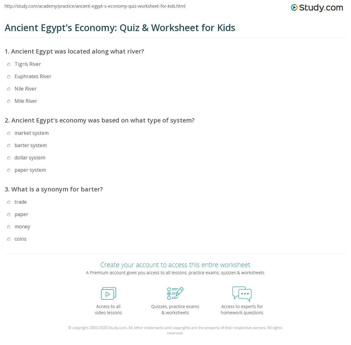 Ancient Egypt S Economy Quiz Amp Worksheet For Kids