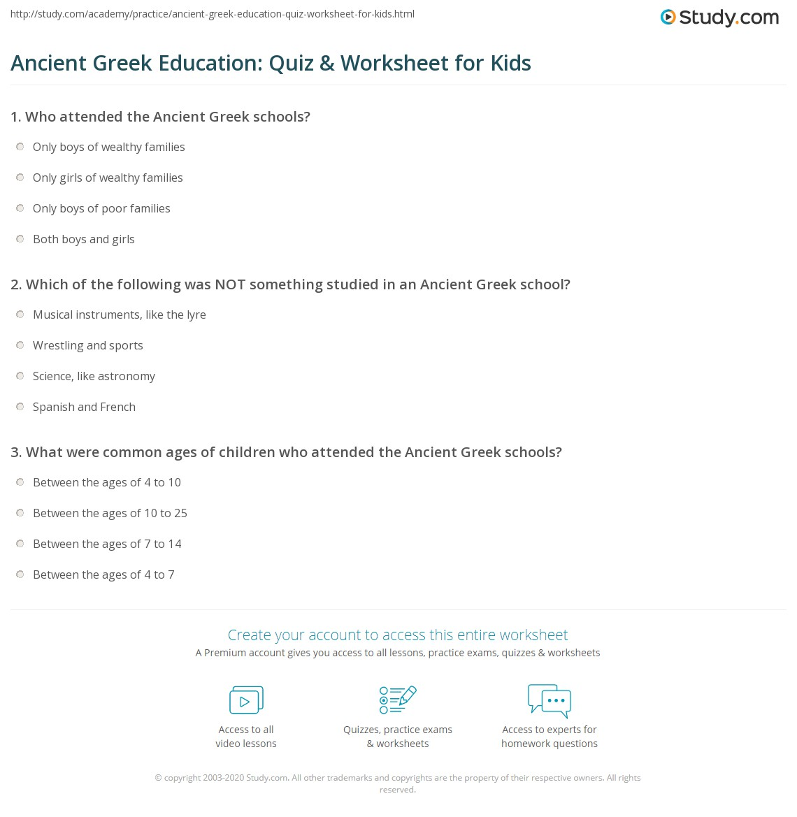 Ancient Greek Education Quiz Amp Worksheet For Kids