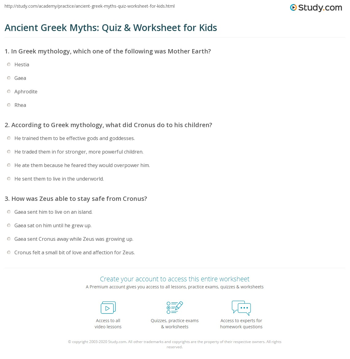 Ancient Greek Myths Quiz Amp Worksheet For Kids