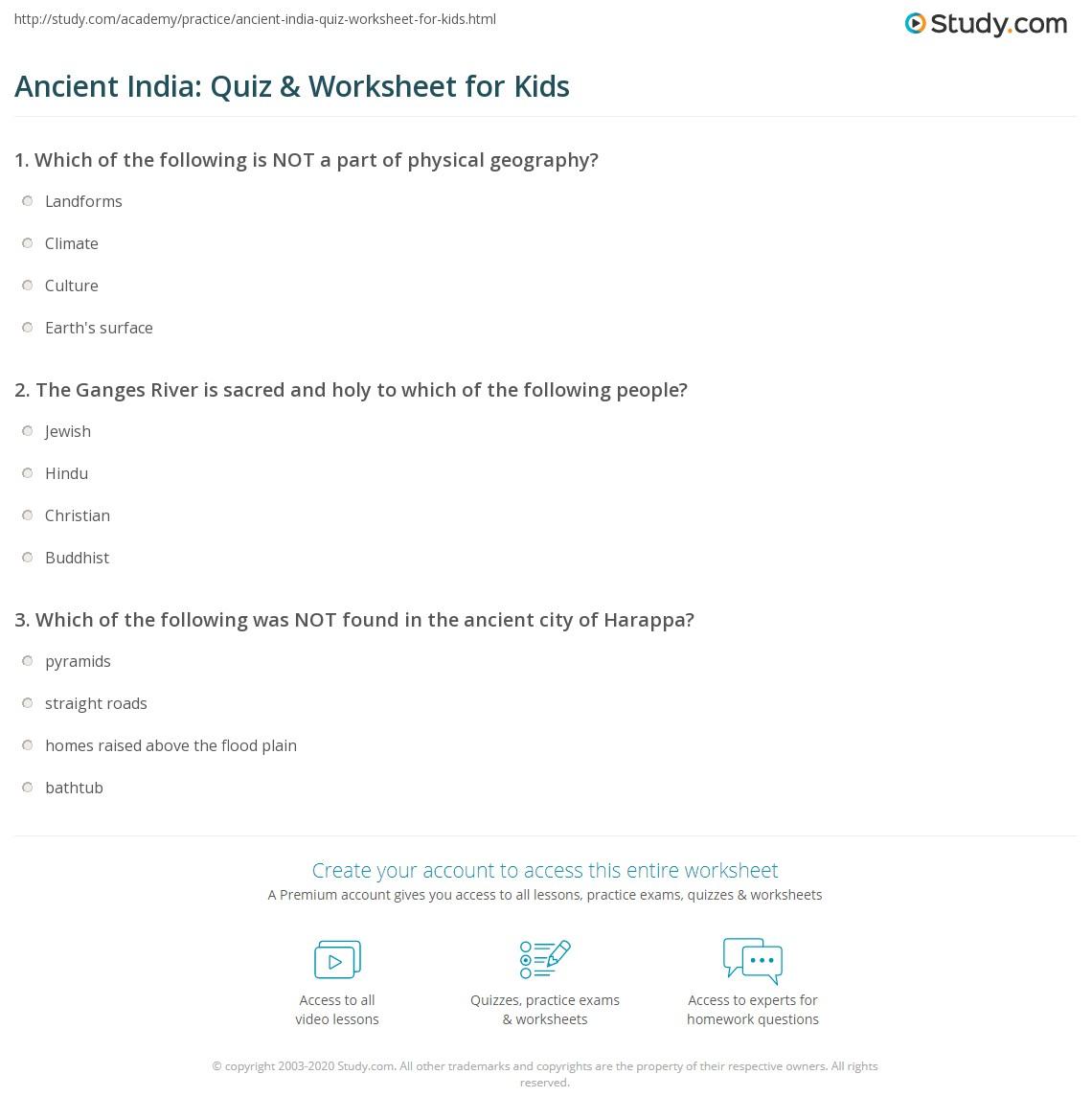 Ancient India Quiz Amp Worksheet For Kids
