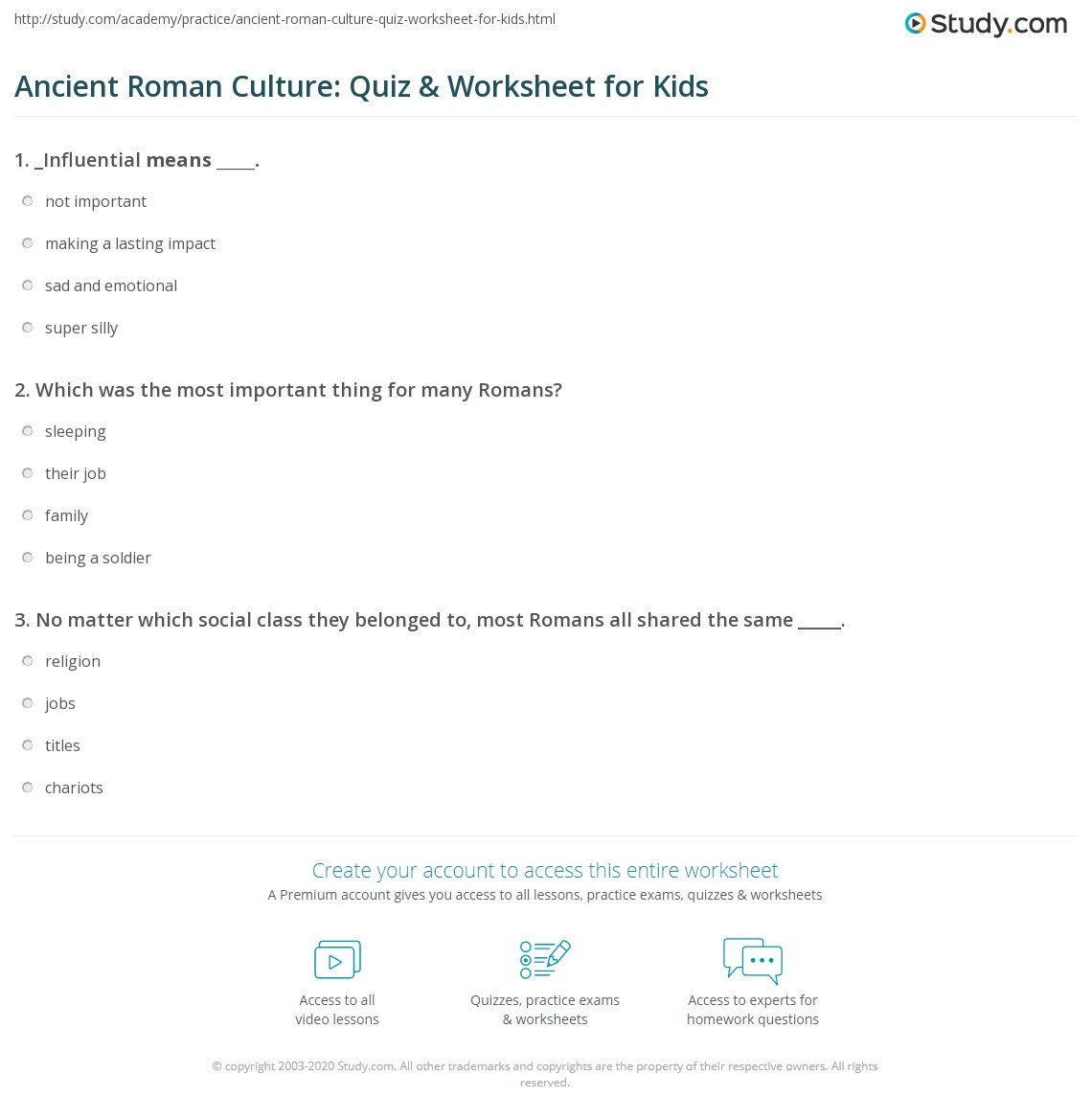 Ancient Roman Culture Quiz Amp Worksheet For Kids