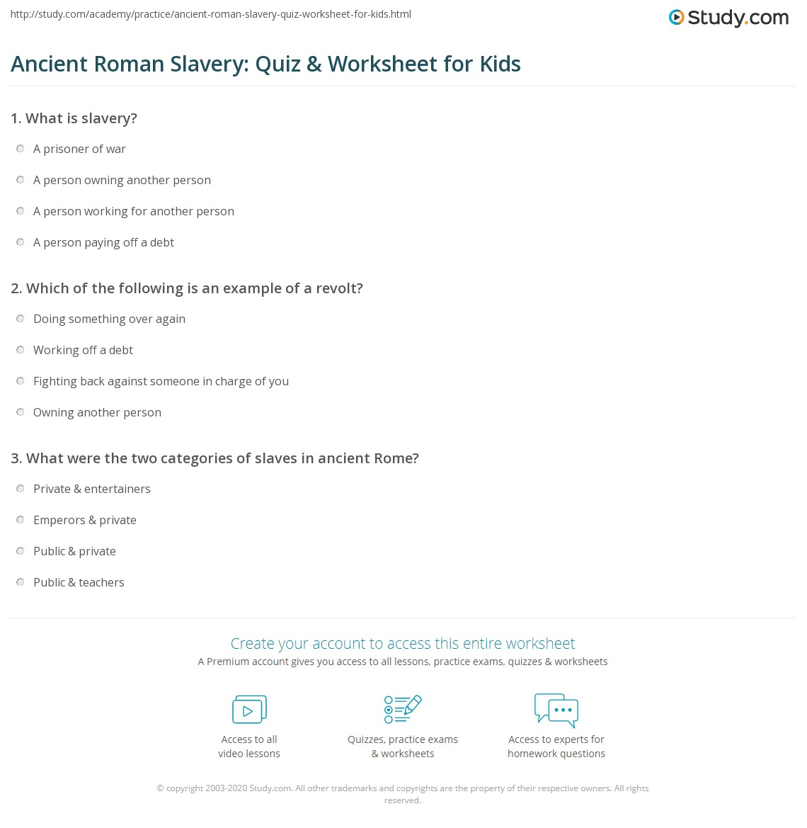 Ancient Roman Slavery Quiz Amp Worksheet For Kids