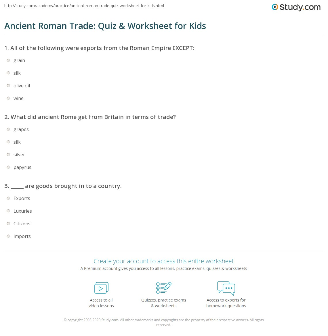 Ancient Roman Trade Quiz Amp Worksheet For Kids