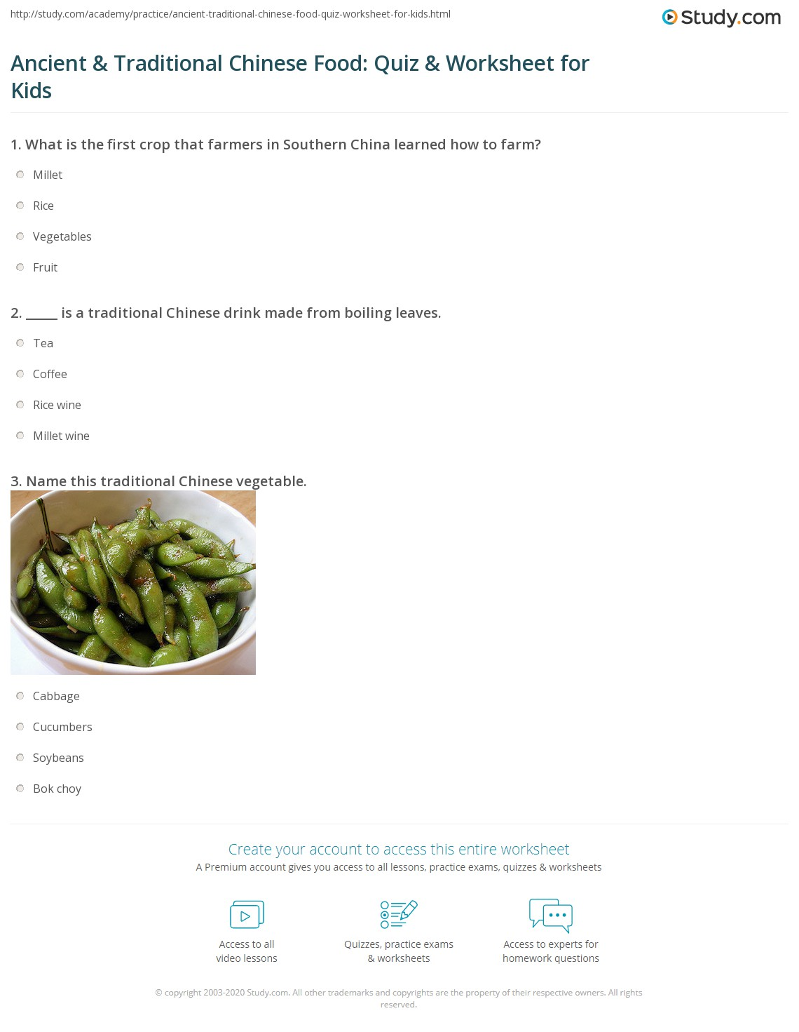 Ancient Amp Traditional Chinese Food Quiz Amp Worksheet For