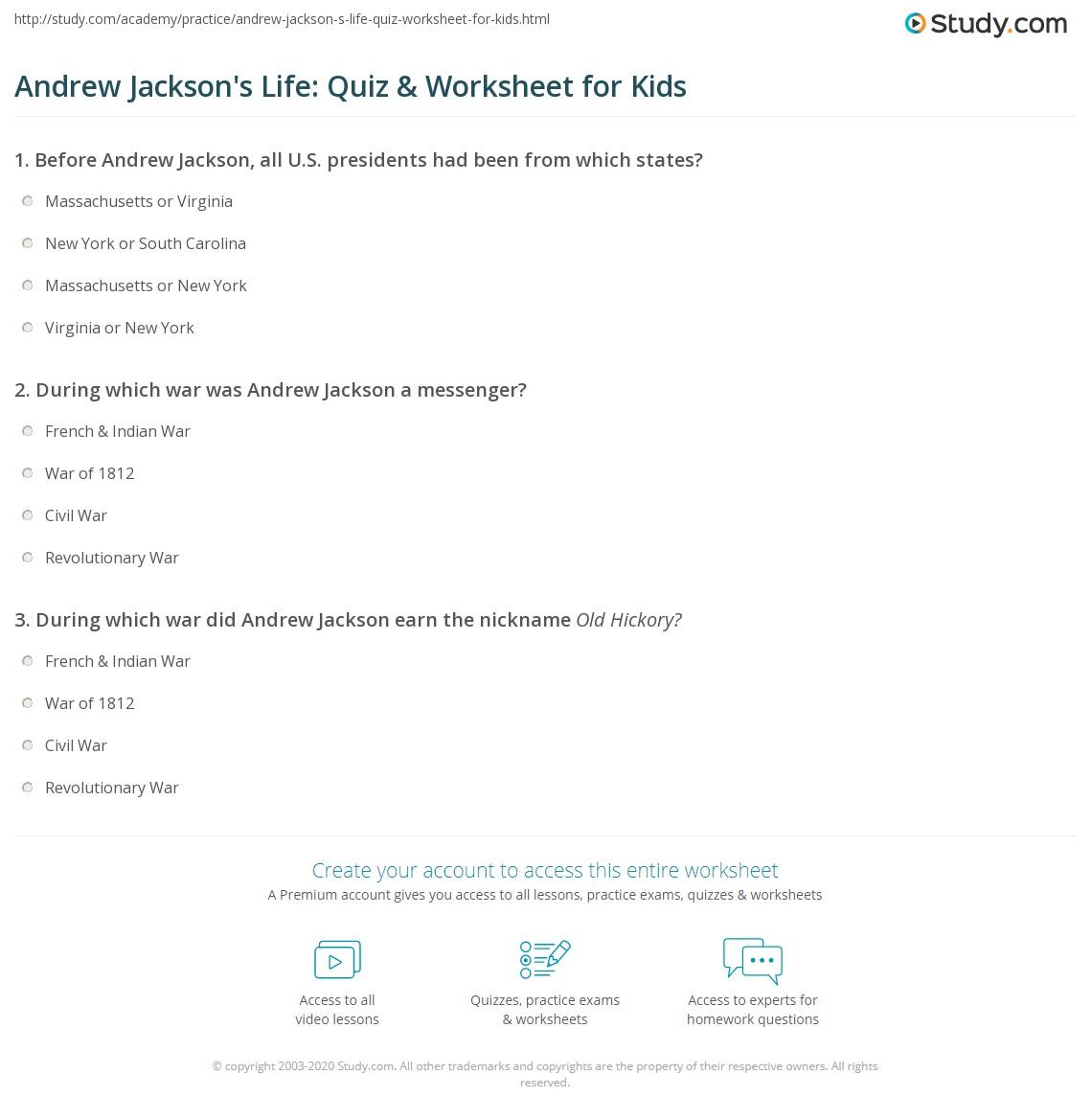 Andrew Jackson S Life Quiz Amp Worksheet For Kids