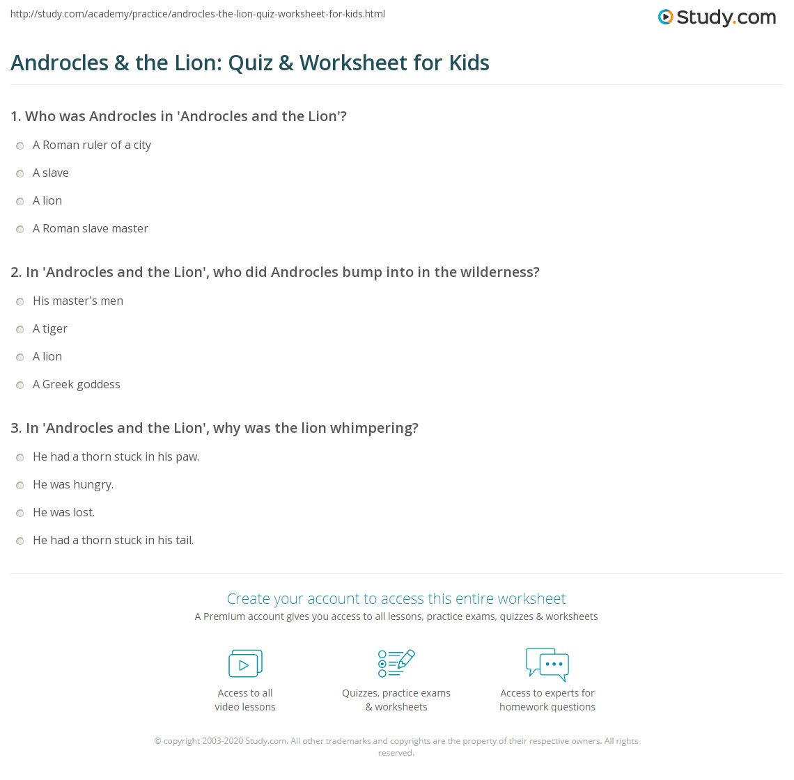 Androcles Amp The Lion Quiz Amp Worksheet For Kids