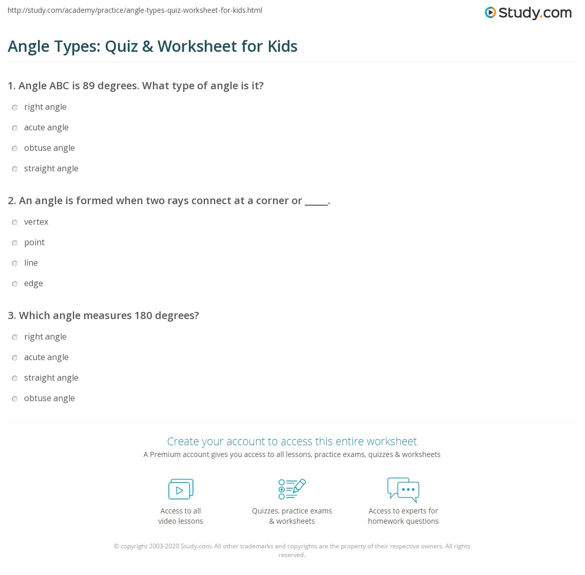 Angle Types Quiz Amp Worksheet For Kids
