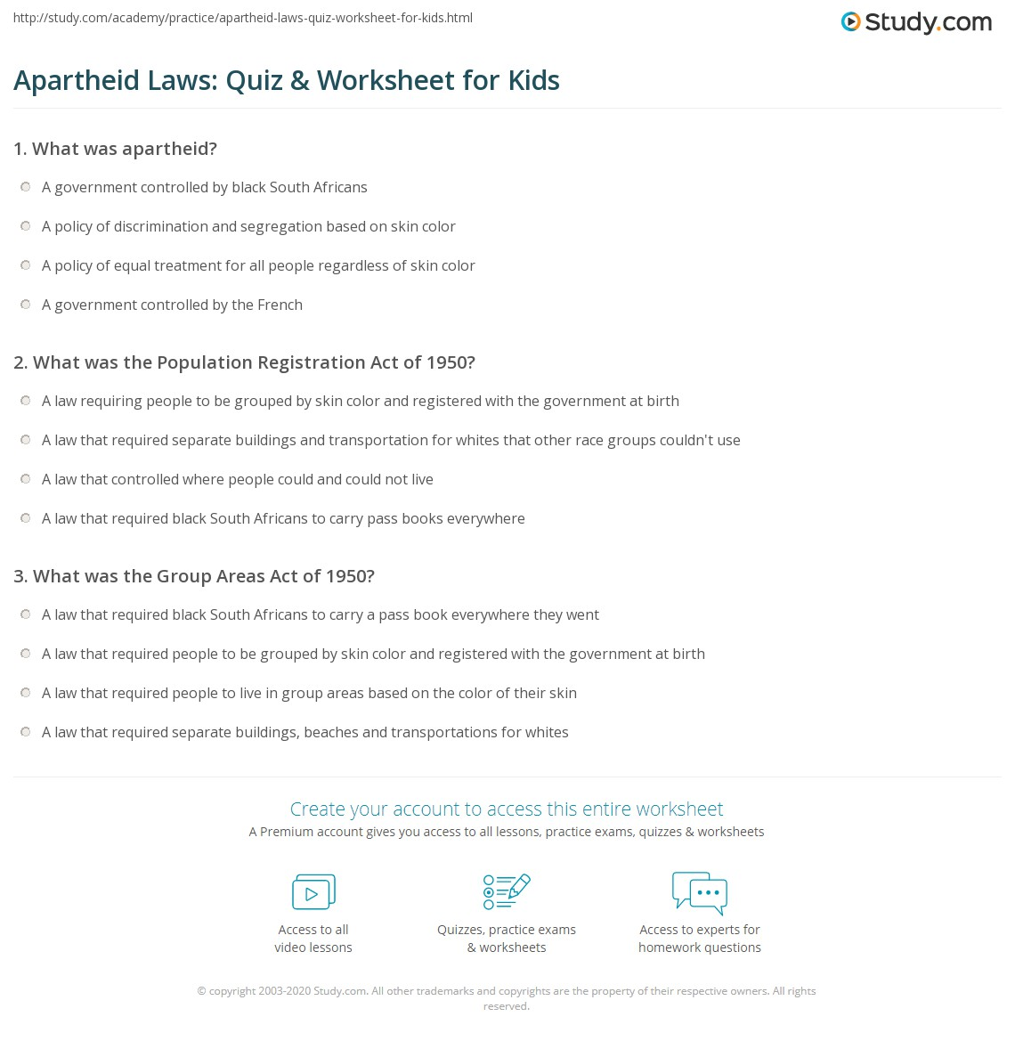 Apartheid Laws Quiz Amp Worksheet For Kids