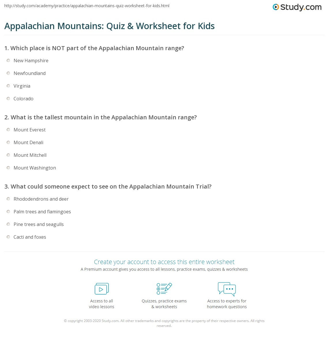 Appalachian Mountains Quiz Amp Worksheet For Kids