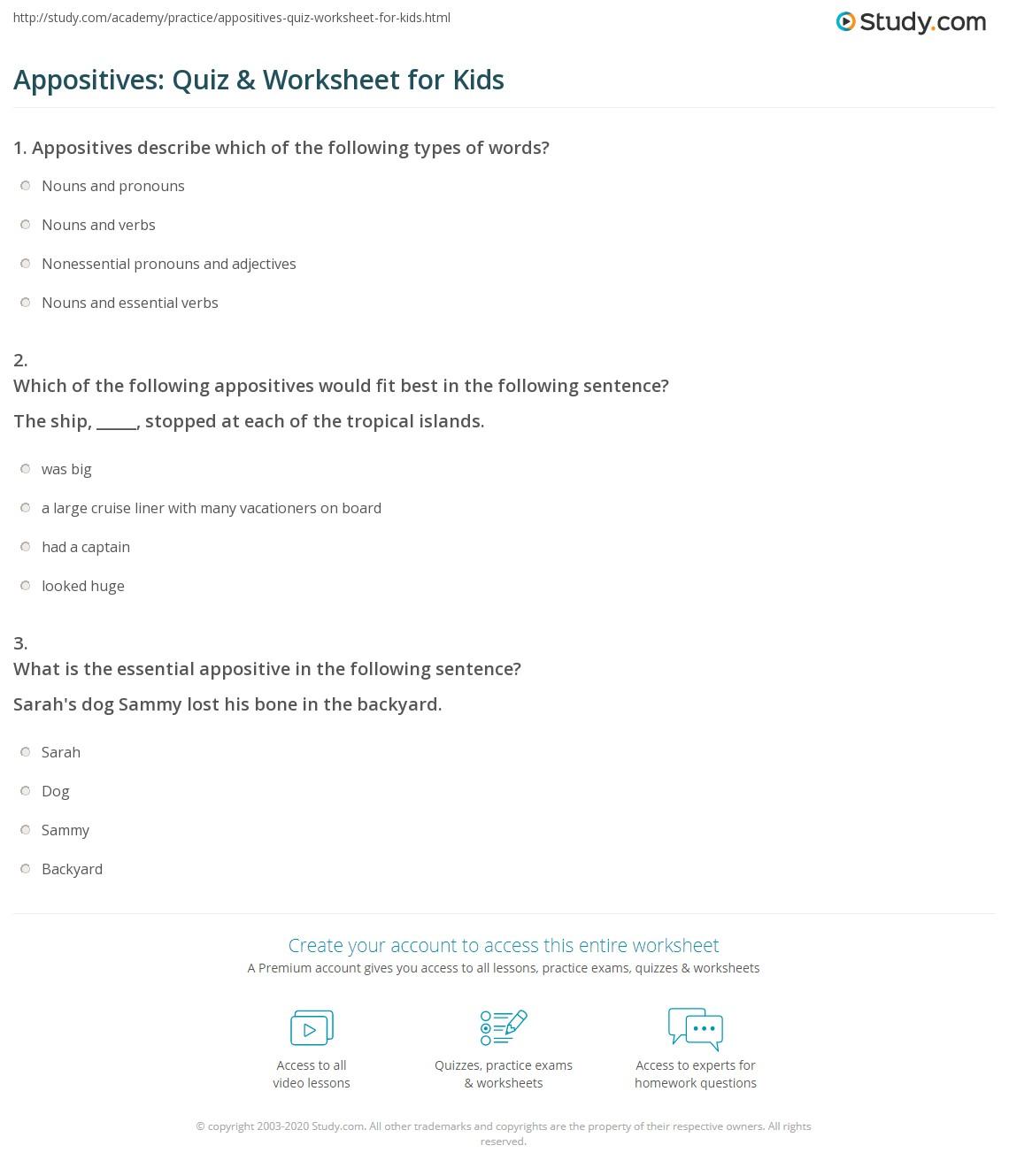 Appositives Quiz Amp Worksheet For Kids