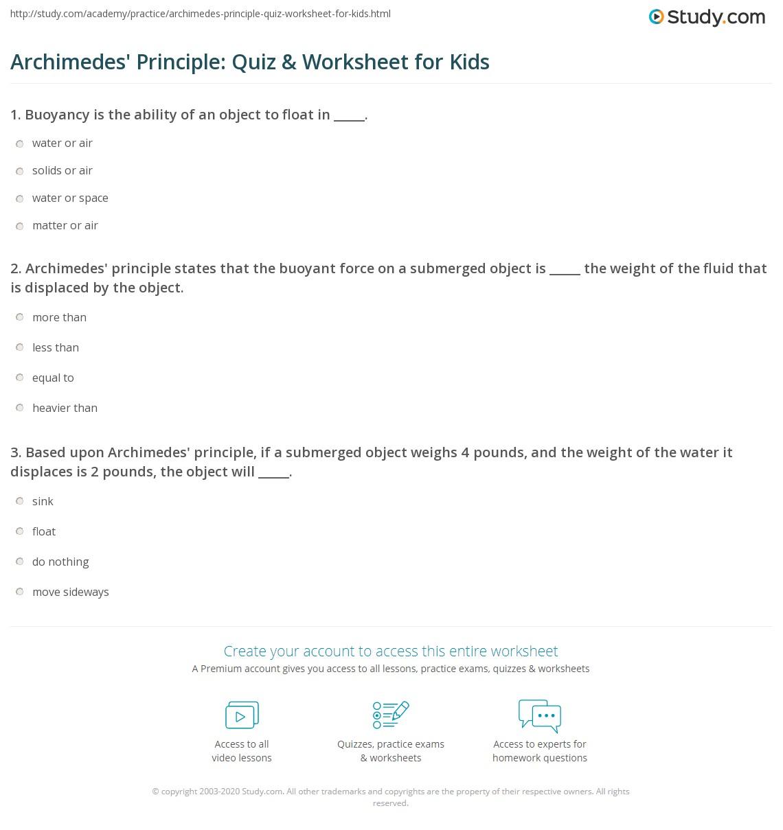 Archimedes Principle Quiz Amp Worksheet For Kids