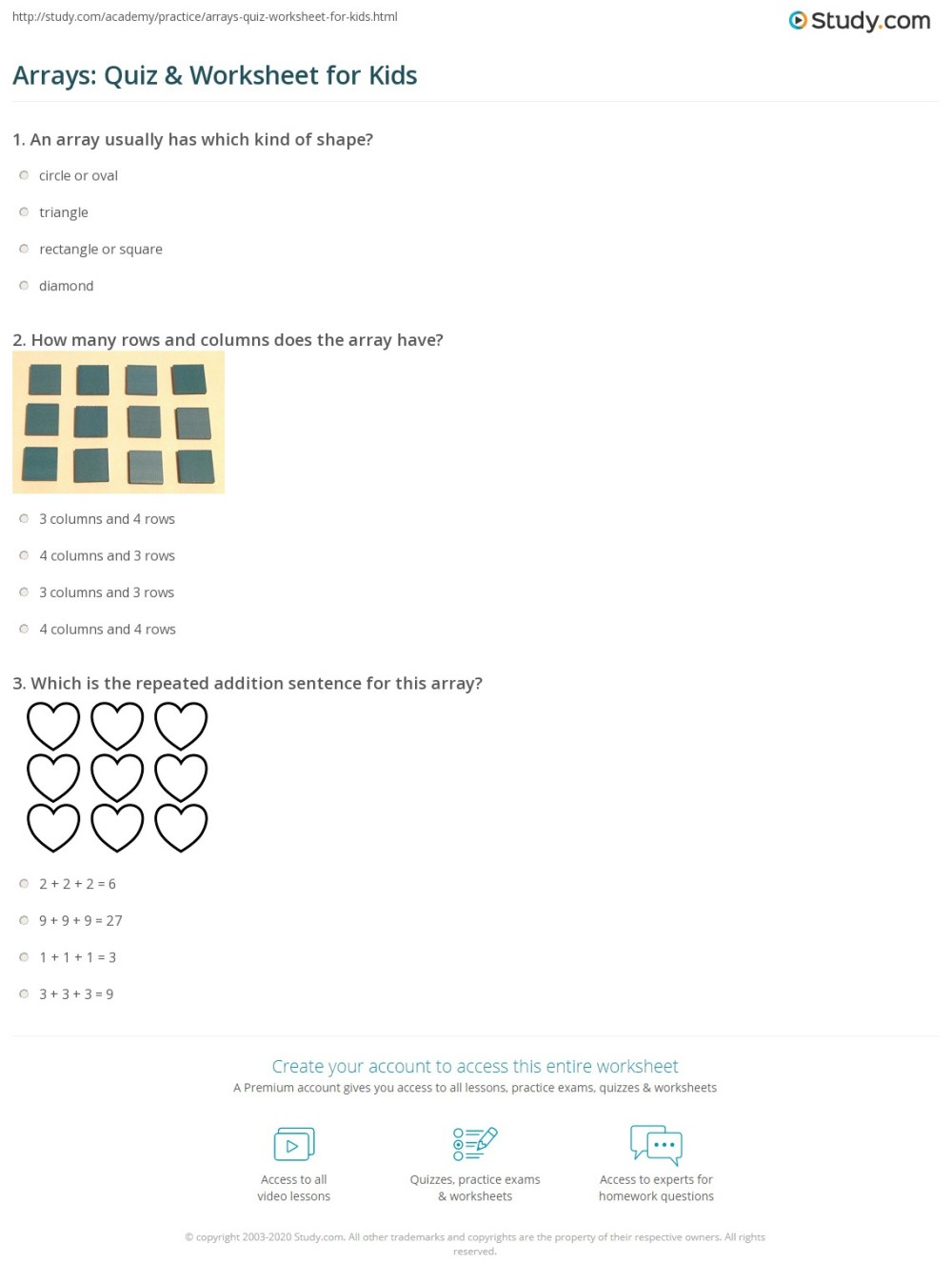 medium resolution of Arrays: Quiz \u0026 Worksheet for Kids   Study.com