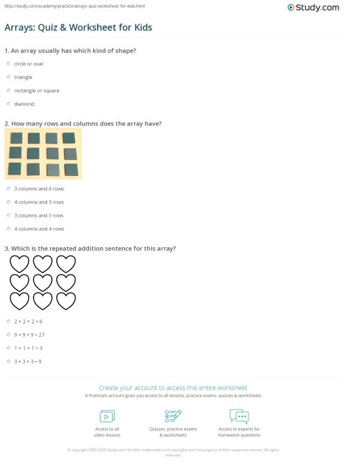 small resolution of Arrays: Quiz \u0026 Worksheet for Kids   Study.com