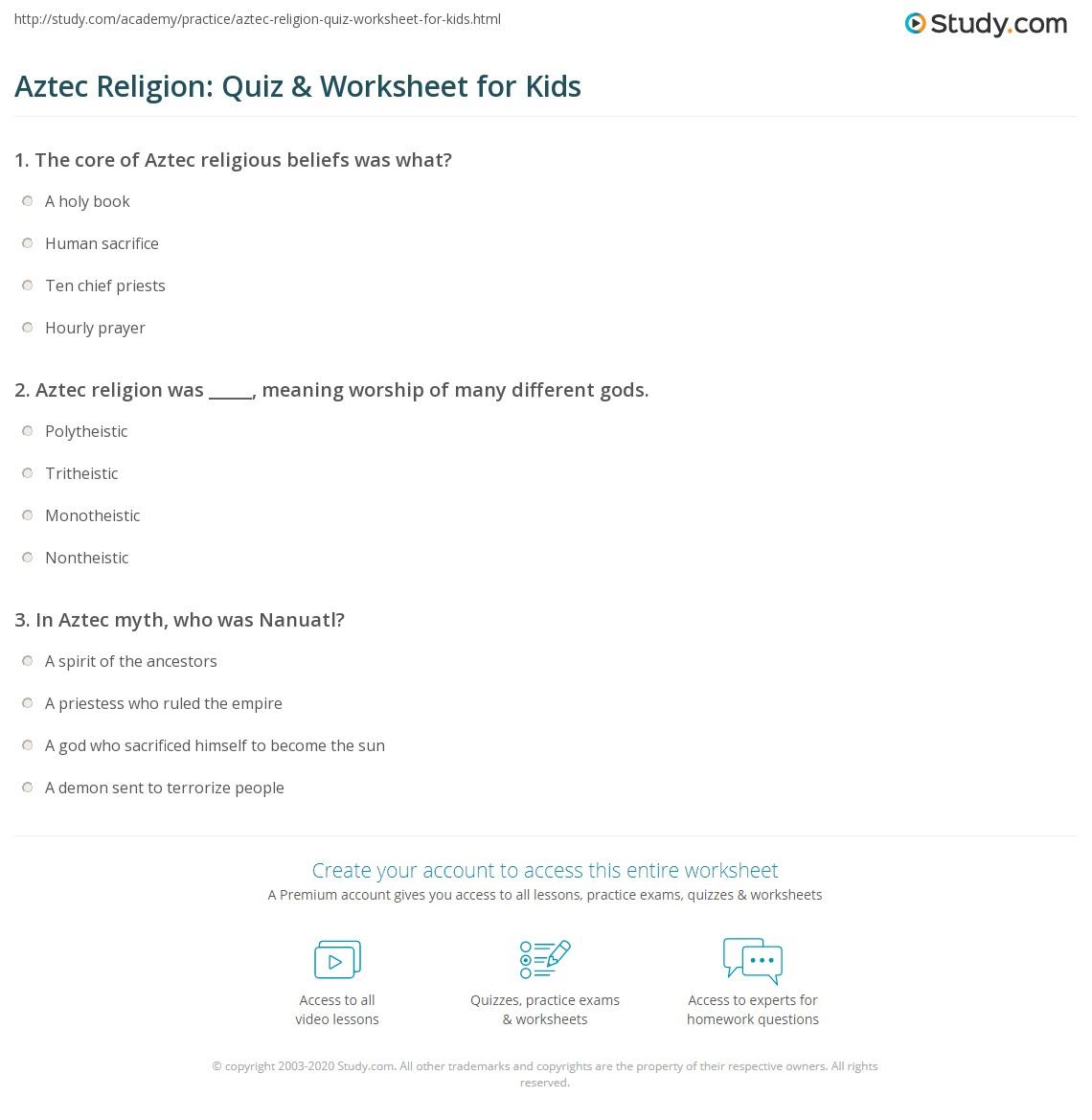 Aztec Religion Quiz Amp Worksheet For Kids