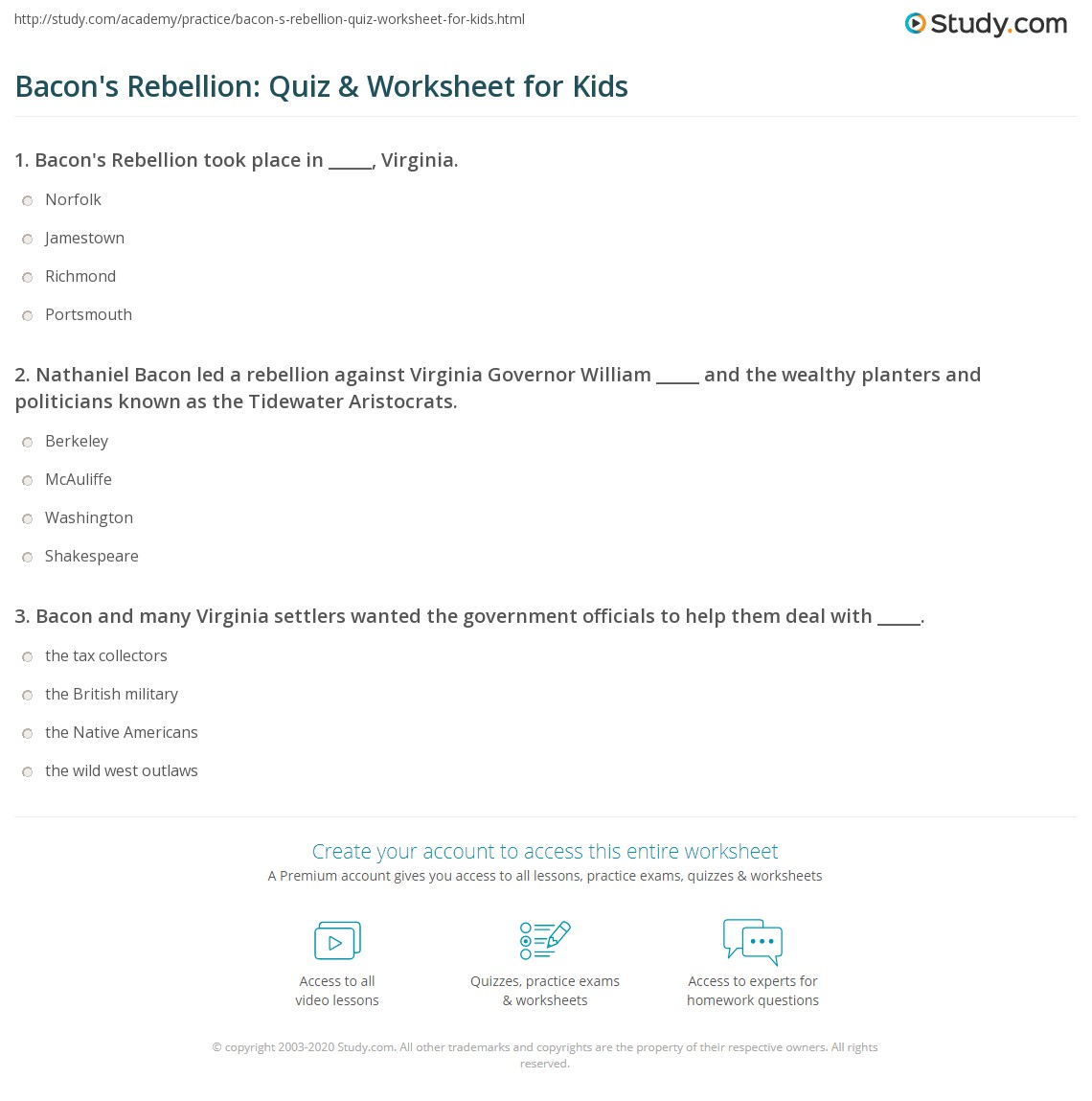 Bacon S Rebellion Quiz Amp Worksheet For Kids