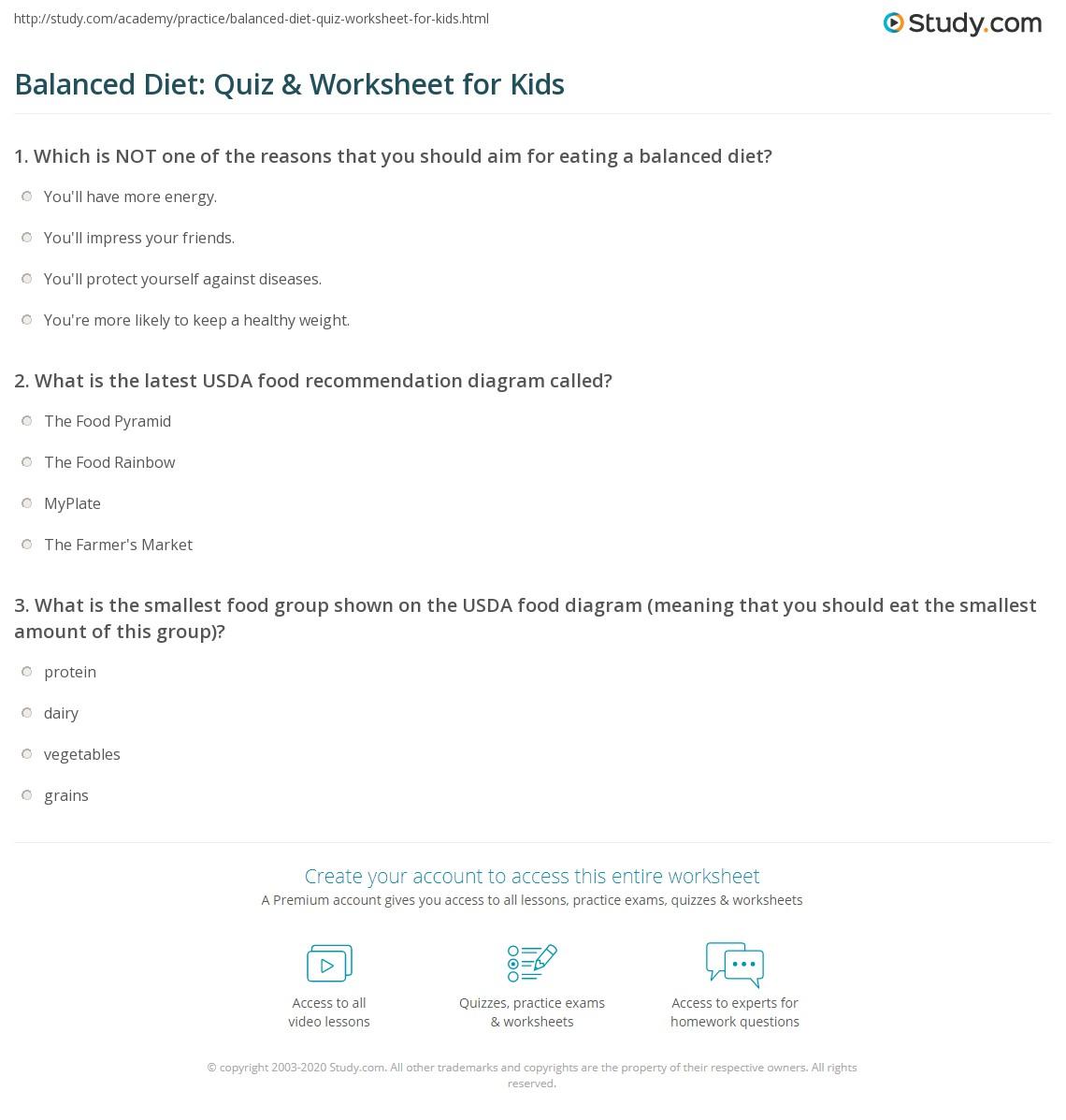 Balancedt Quiz Amp Worksheet For Kids