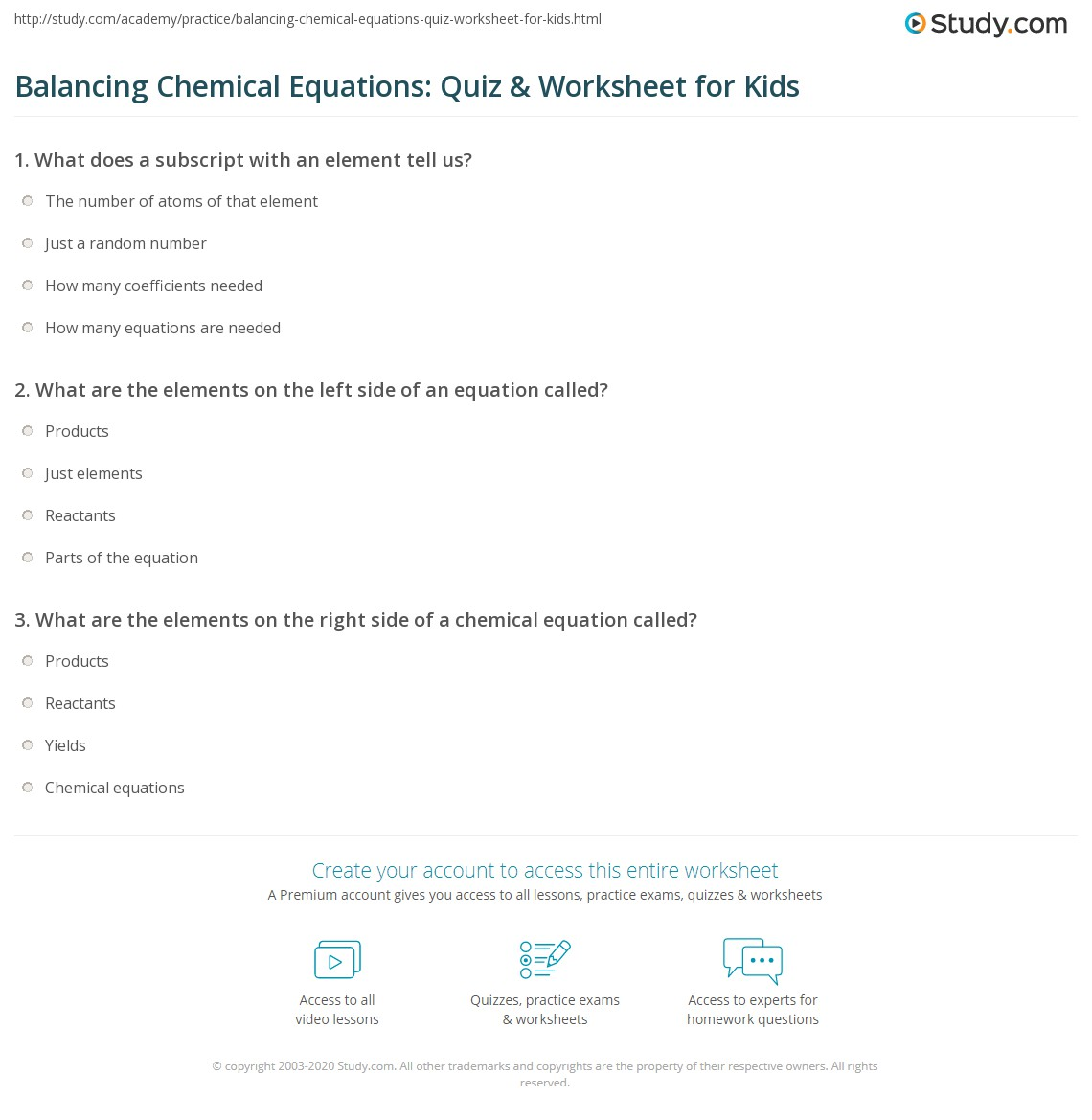 Balancing Chemical Equations Quiz Amp Worksheet For Kids