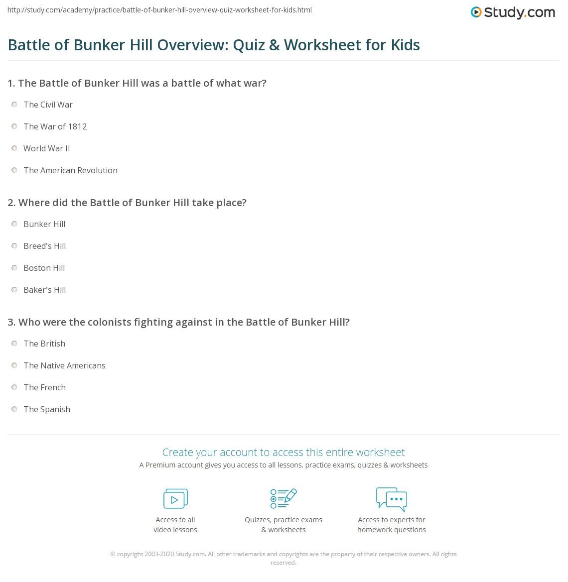 Battle Of Bunker Hill Overview Quiz Amp Worksheet For Kids