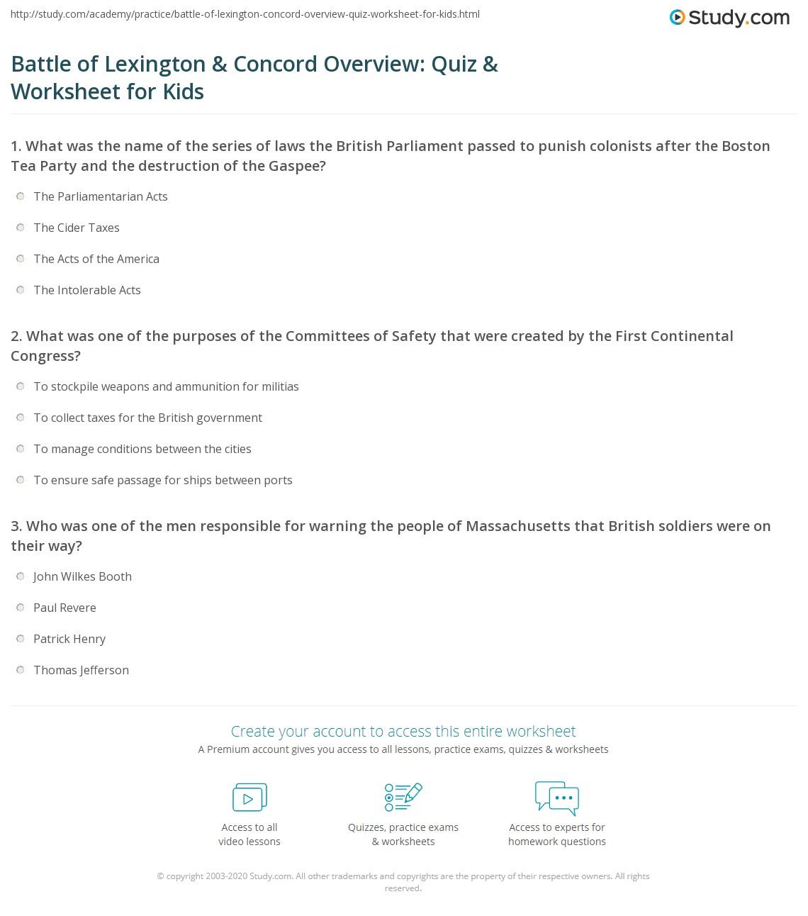 Battle Of Lexington Amp Concord Overview Quiz Amp Worksheet