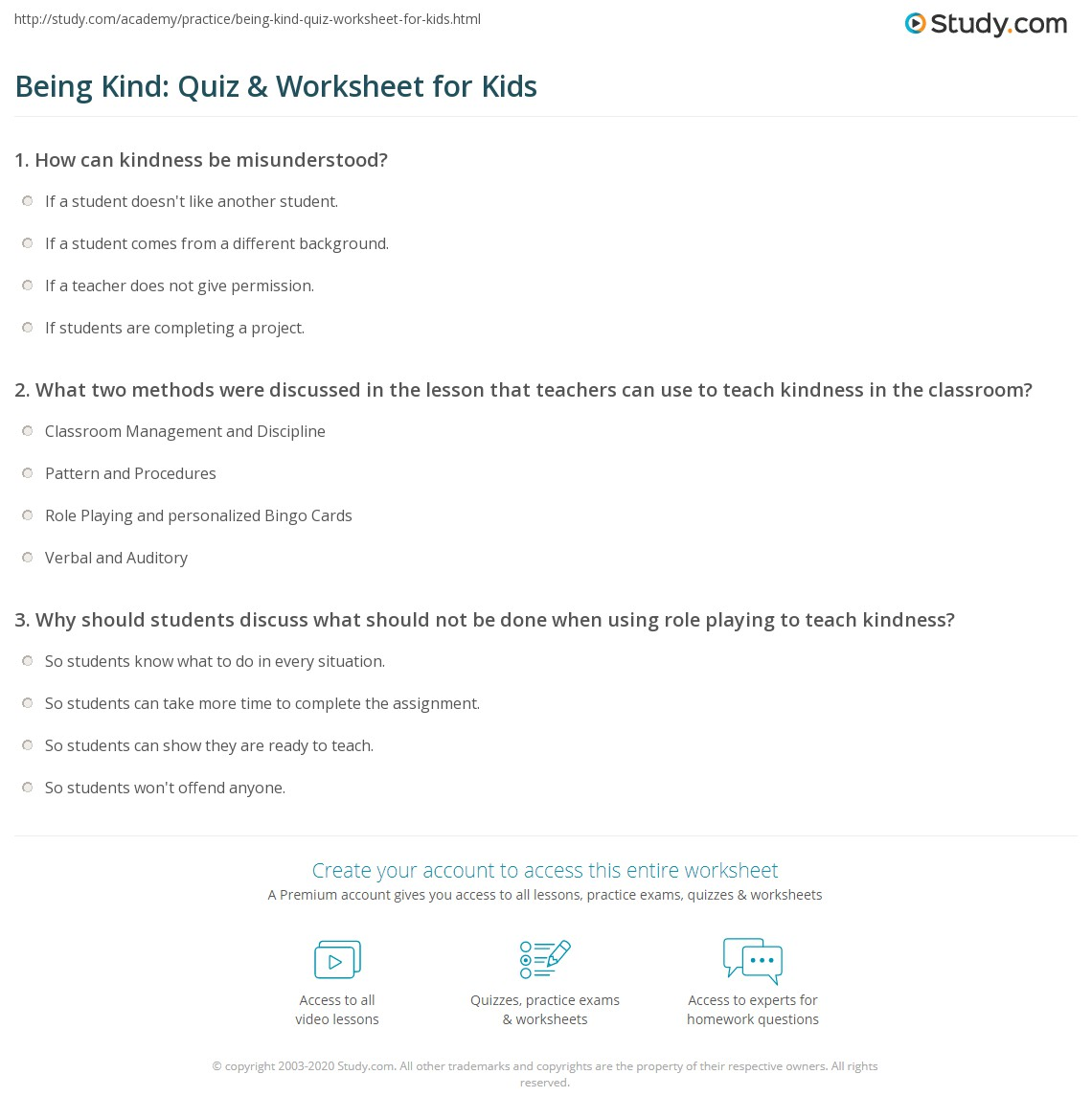 Being Kind Quiz Amp Worksheet For Kids
