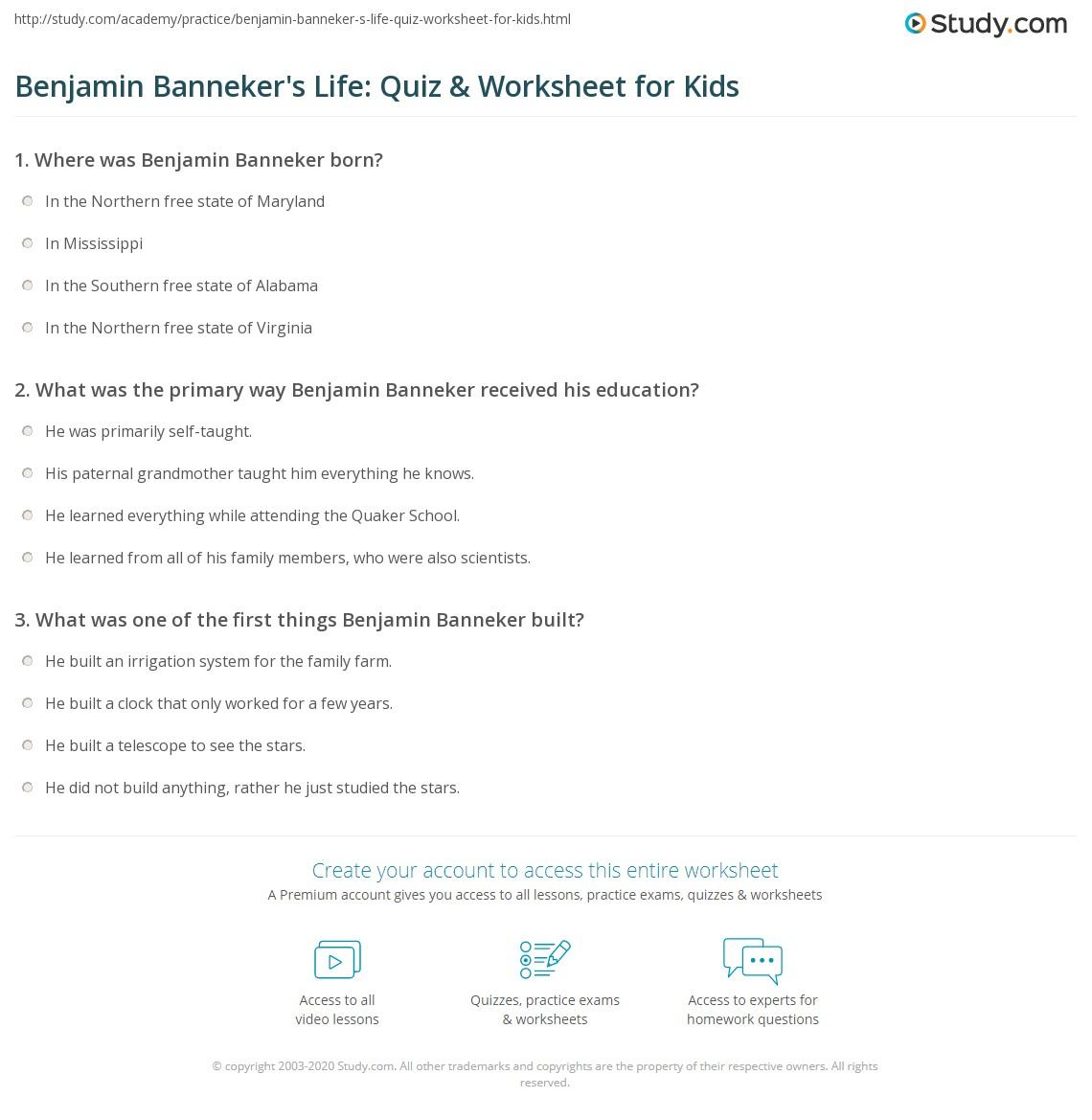 Benjamin Banneker S Life Quiz Amp Worksheet For Kids