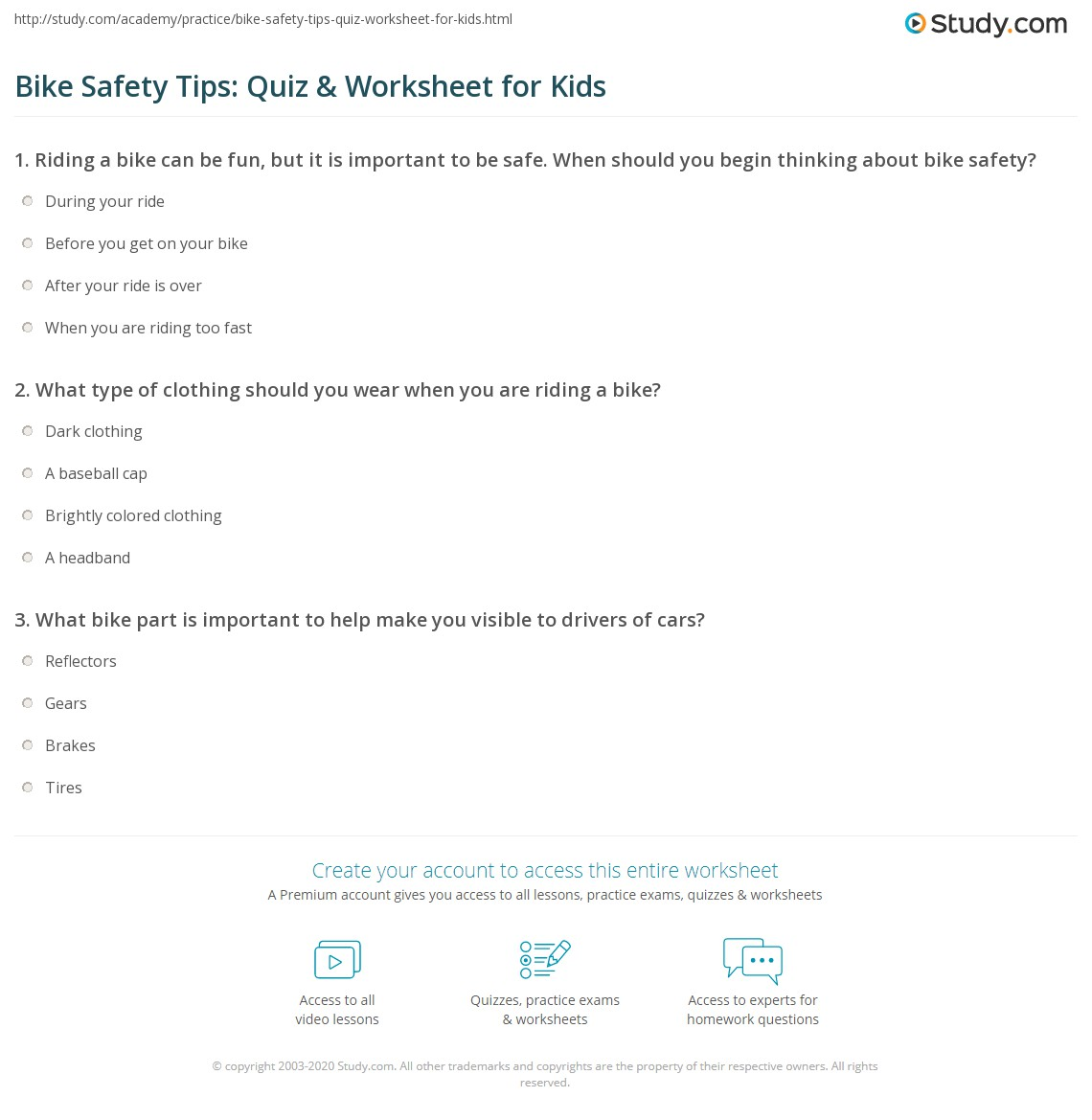 Baseball Safety Worksheet