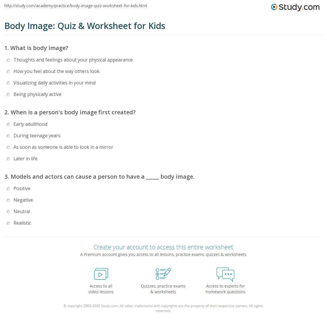 Body Image Quiz Amp Worksheet For Kids