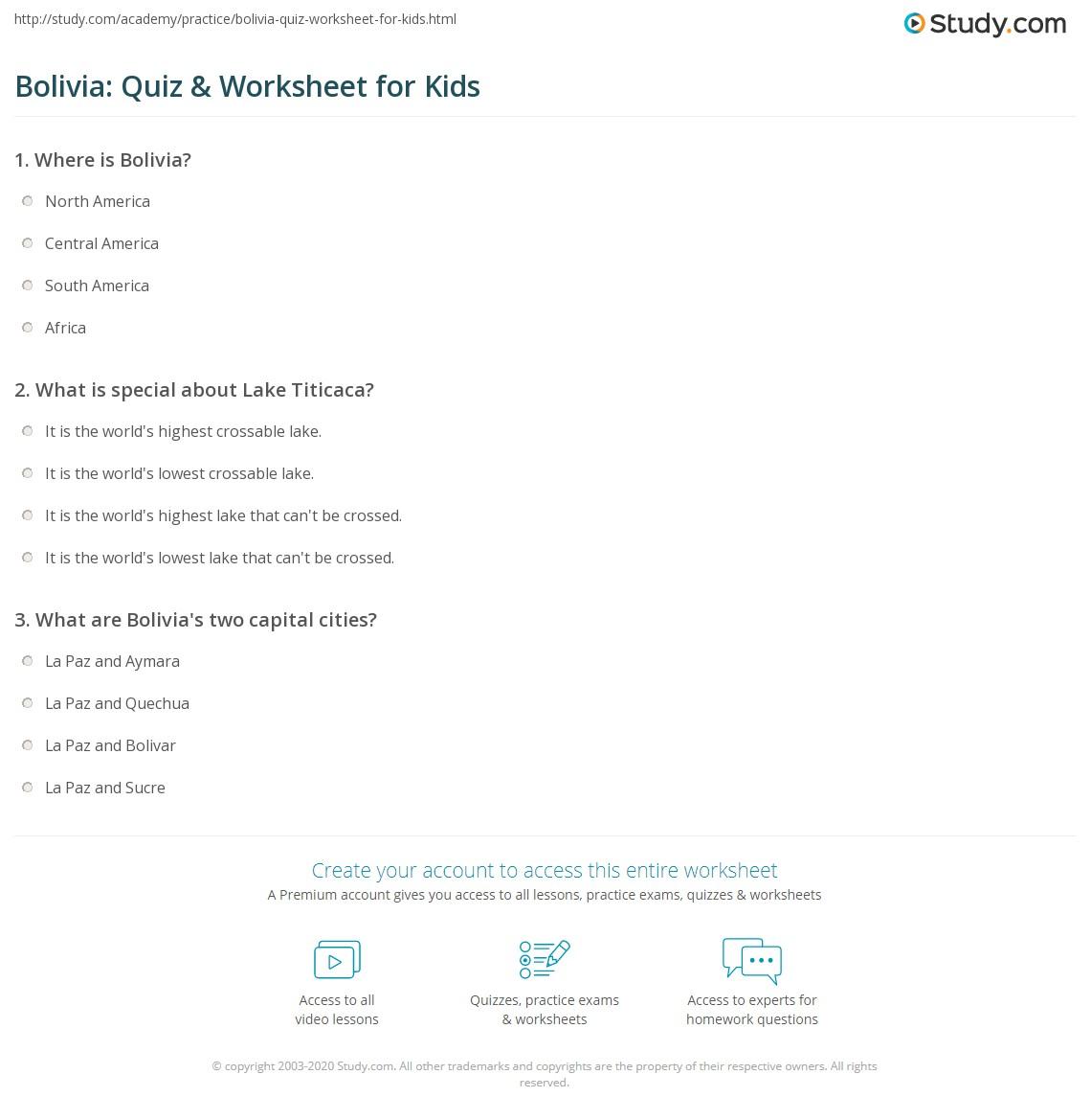 Bolivia Quiz Amp Worksheet For Kids