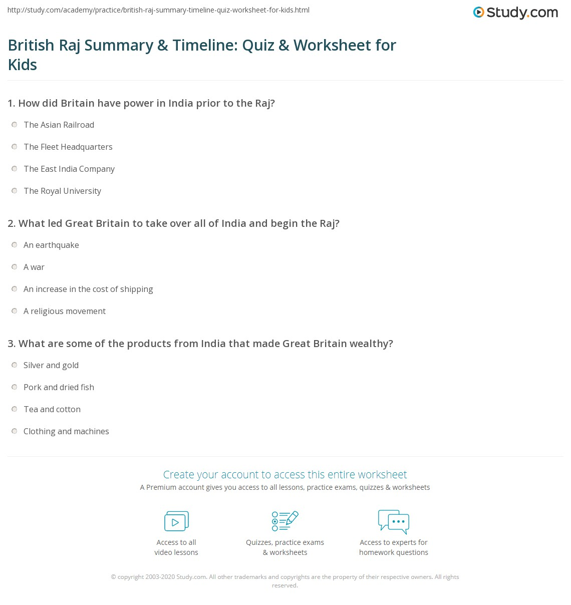 British Raj Summary Amp Timeline Quiz Amp Worksheet For Kids