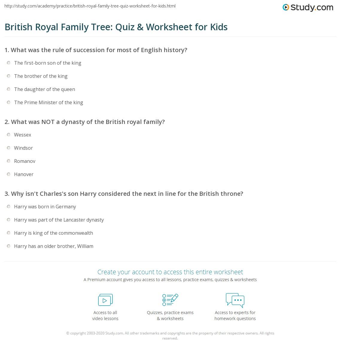 British Royal Family Tree Quiz Amp Worksheet For Kids
