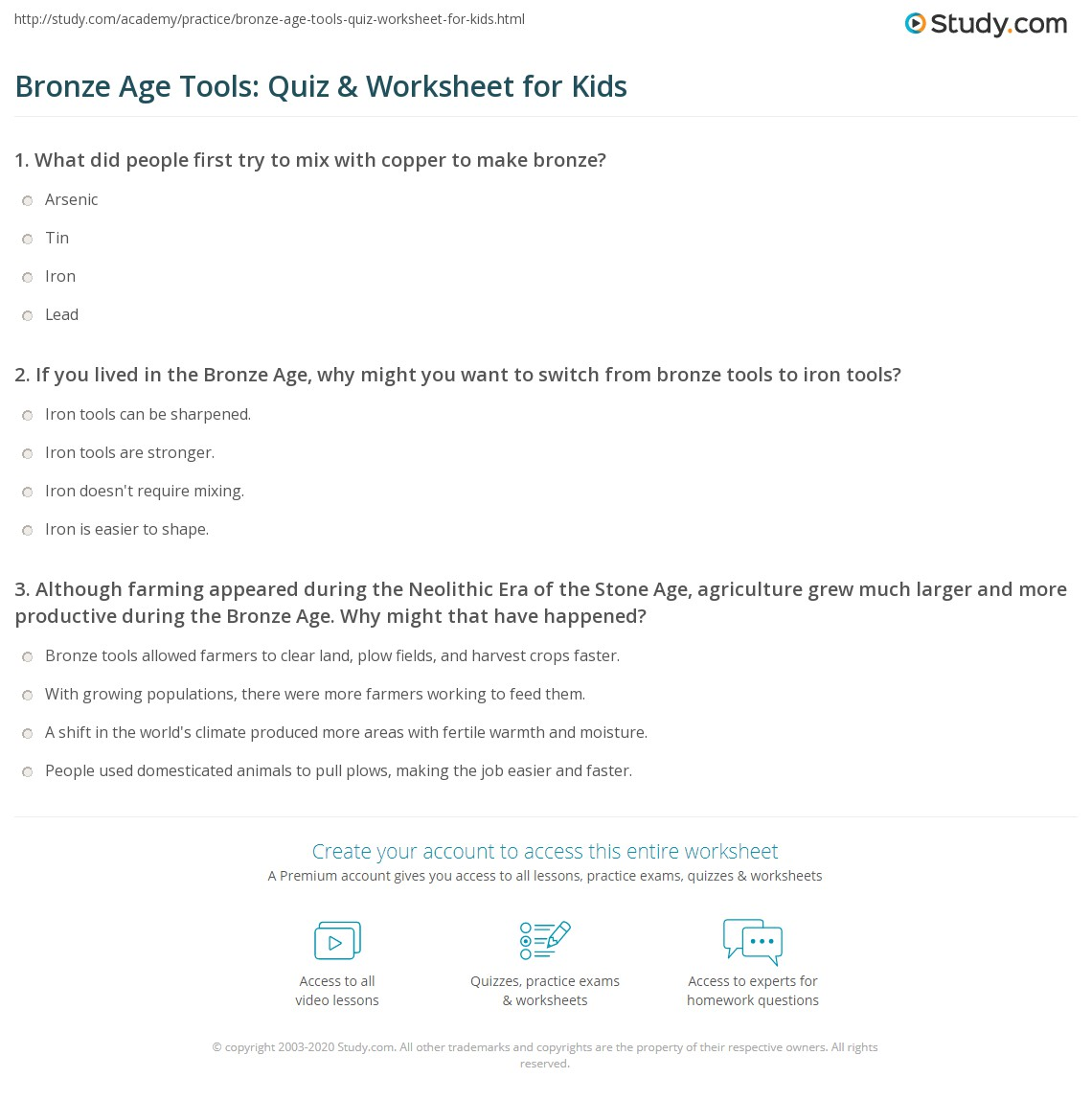 Bronze Age Tools Quiz Amp Worksheet For Kids