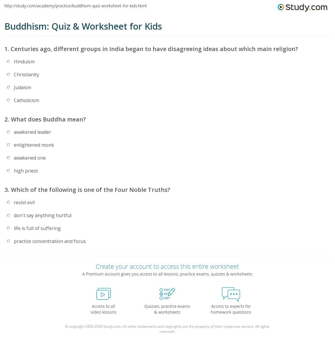 Buddhism Quiz Amp Worksheet For Kids