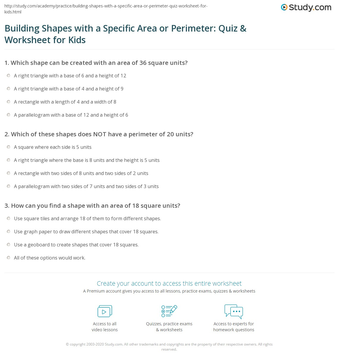 Building Shapes With A Specific Area Or Perimeter Quiz Amp Worksheet For Kids