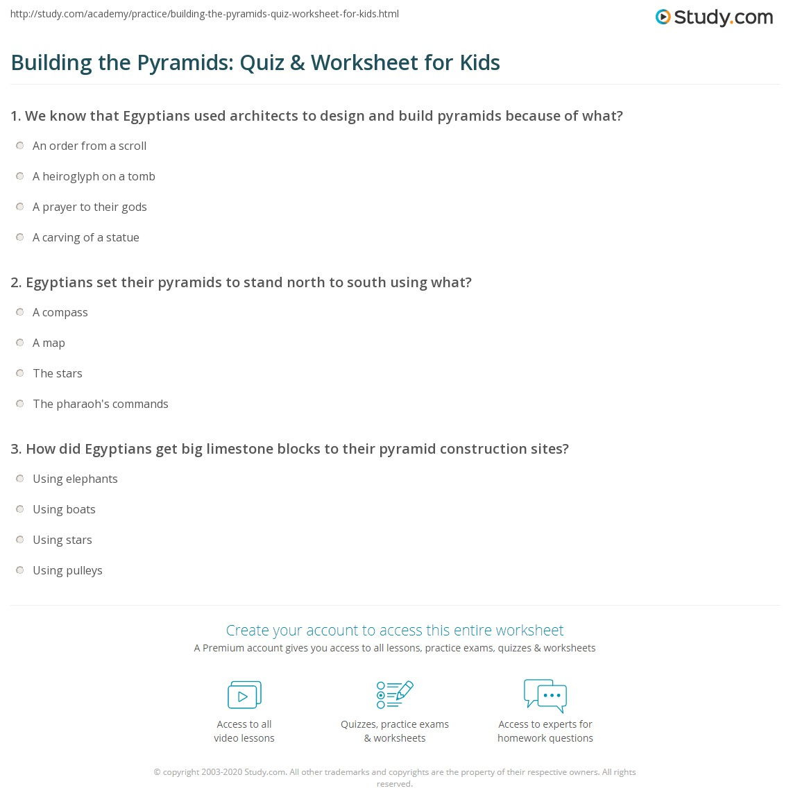 Building The Pyramids Quiz Amp Worksheet For Kids
