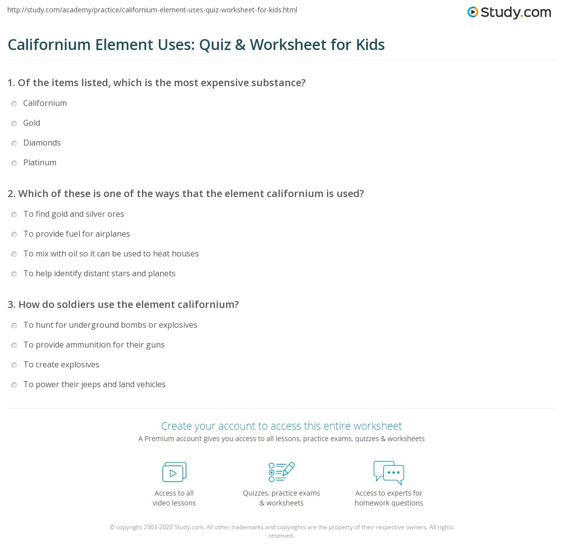 Californium Element Uses Quiz Amp Worksheet For Kids