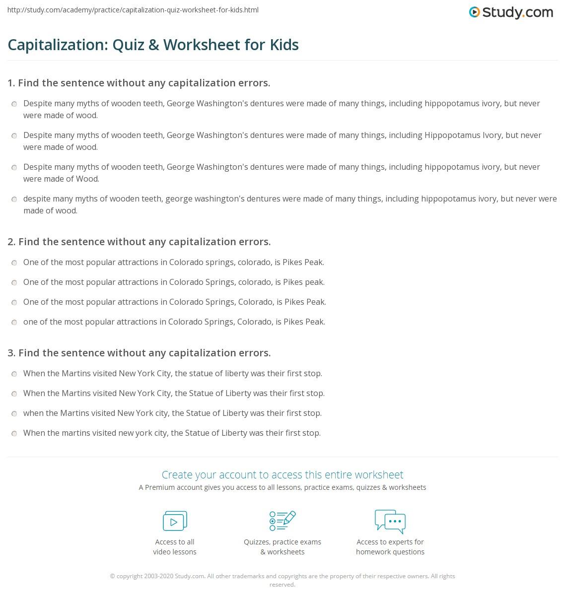 Capitalization Quiz Amp Worksheet For Kids