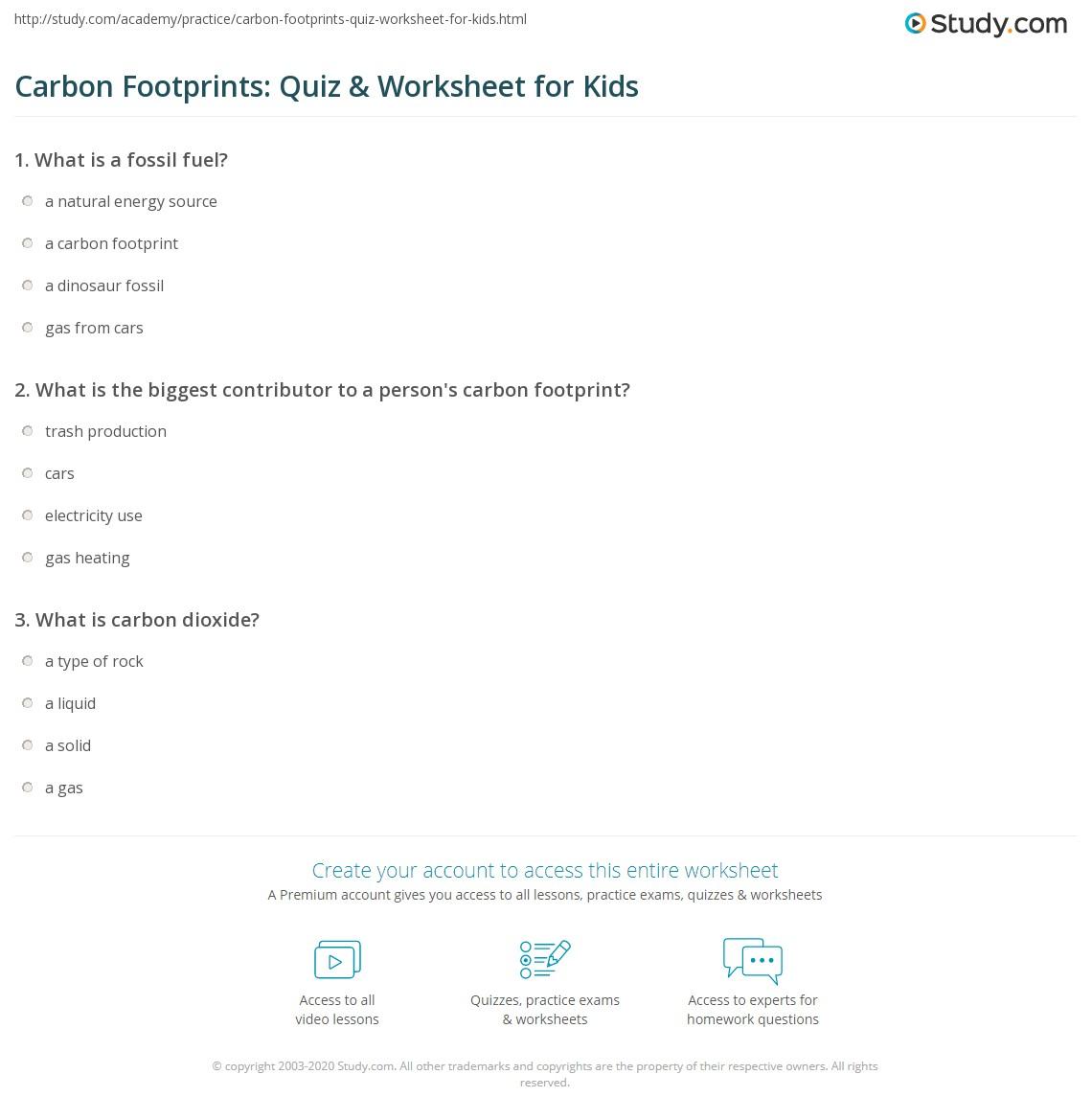 Carbon Footprints Quiz Amp Worksheet For Kids