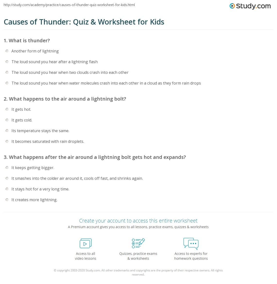 Causes Of Thunder Quiz Amp Worksheet For Kids