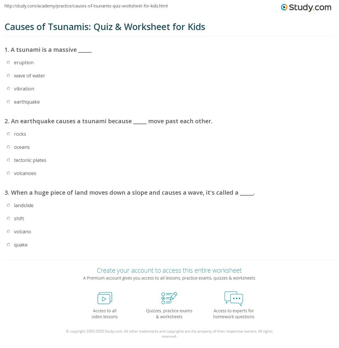 Causes Of Tsunamis Quiz Amp Worksheet For Kids