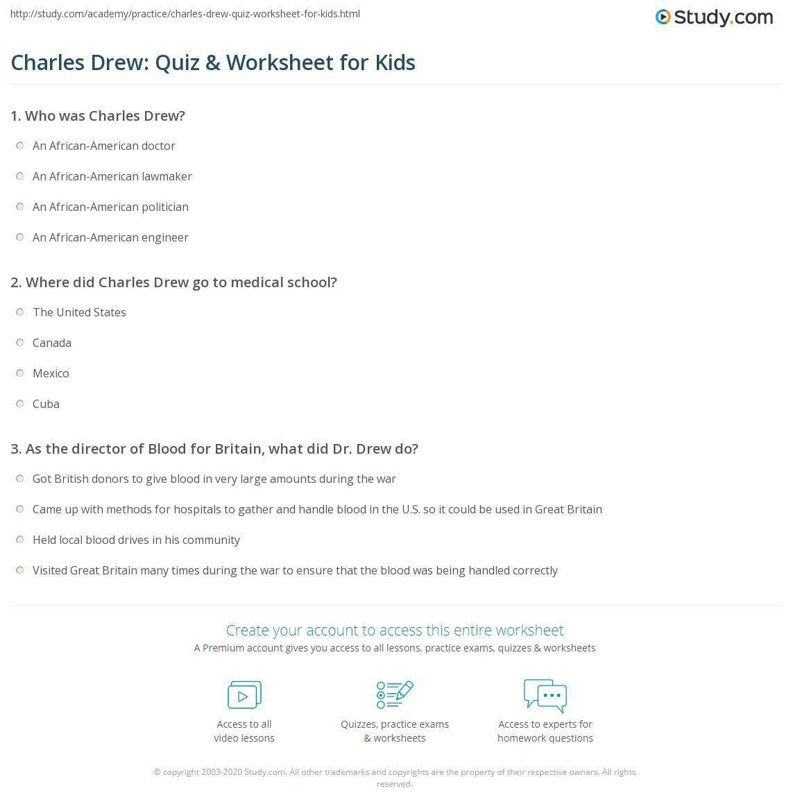Charles Drew Quiz Amp Worksheet For Kids
