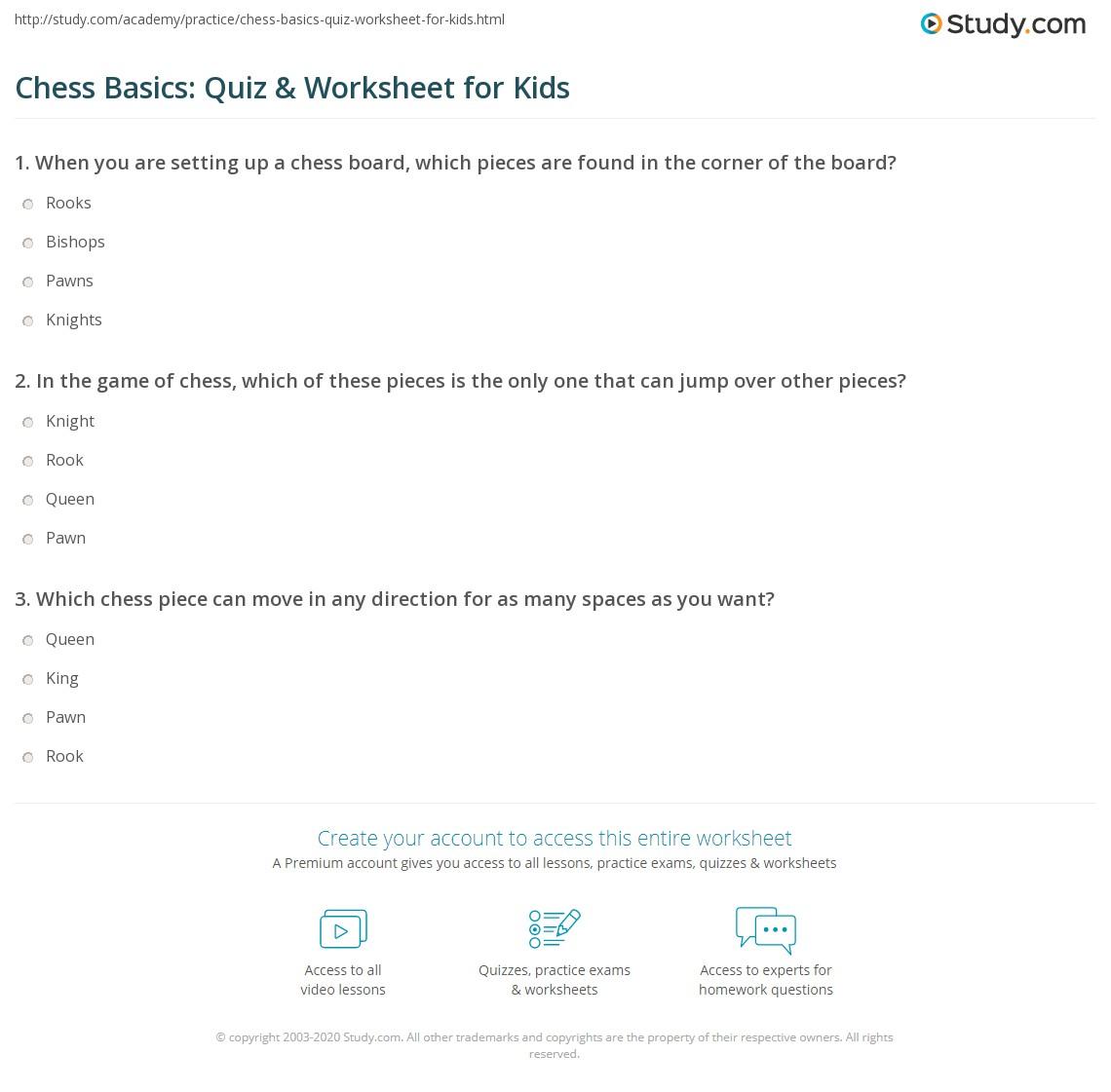 Chess Basics Quiz Amp Worksheet For Kids