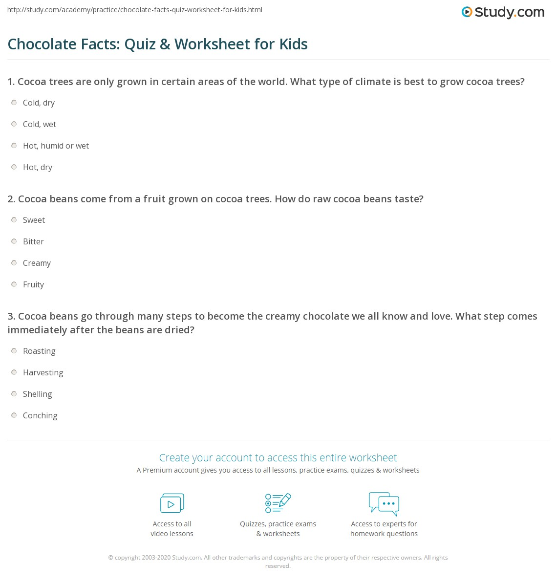 Chocolate Facts Quiz Amp Worksheet For Kids