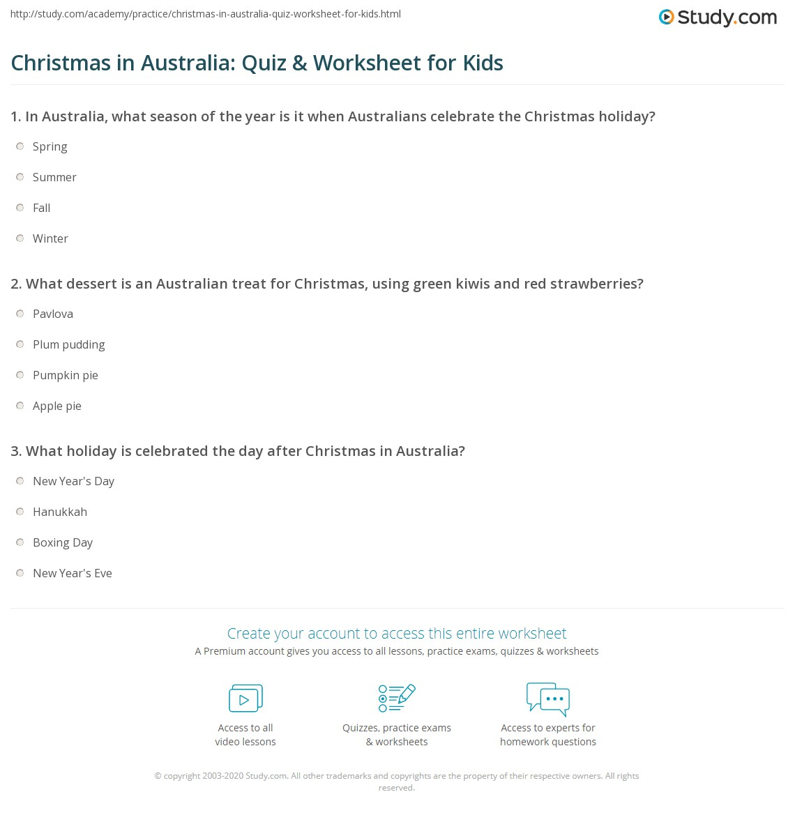 Christmas In Australia Quiz Amp Worksheet For Kids
