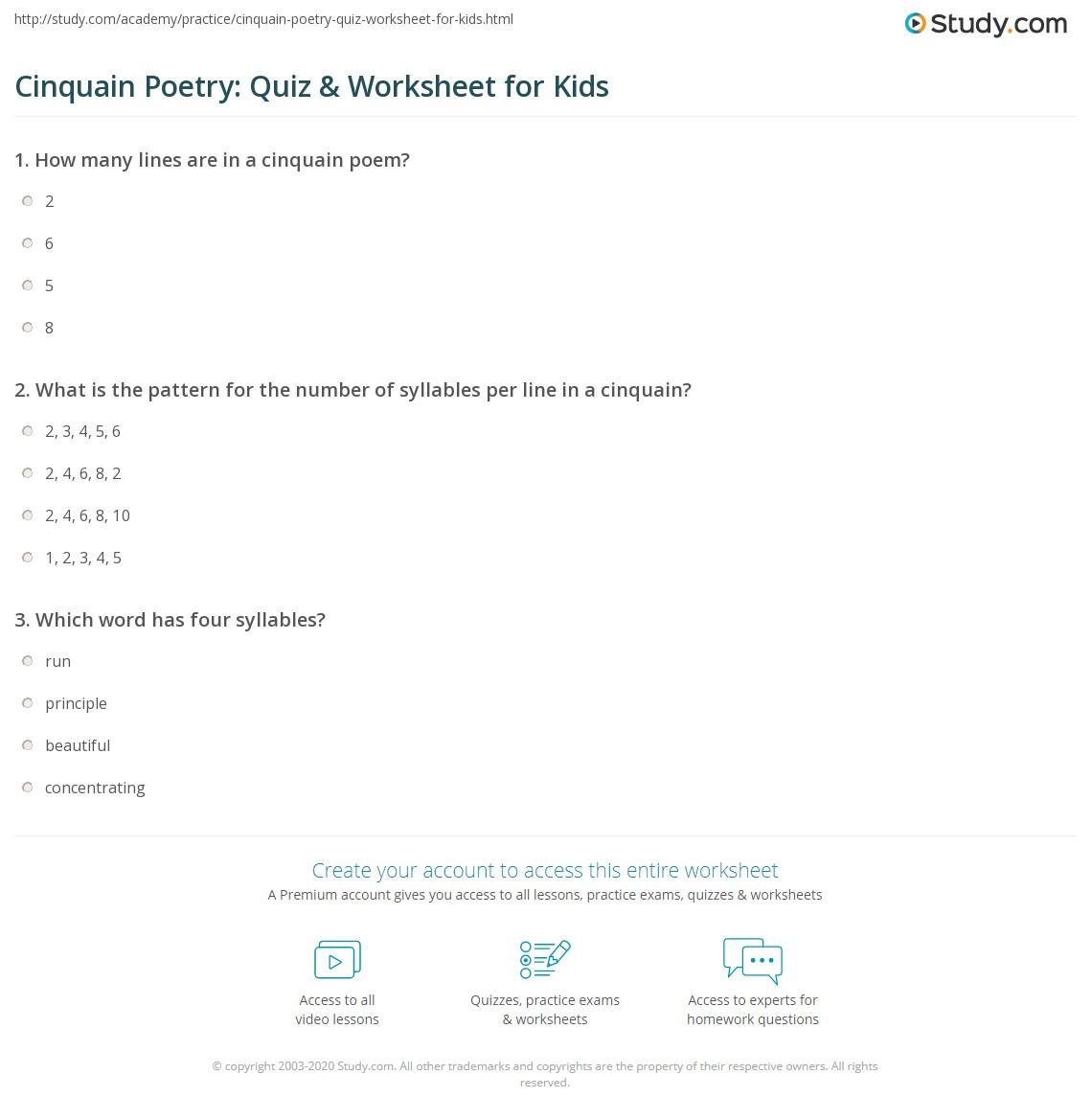 hight resolution of Cinquain Poetry: Quiz \u0026 Worksheet for Kids   Study.com