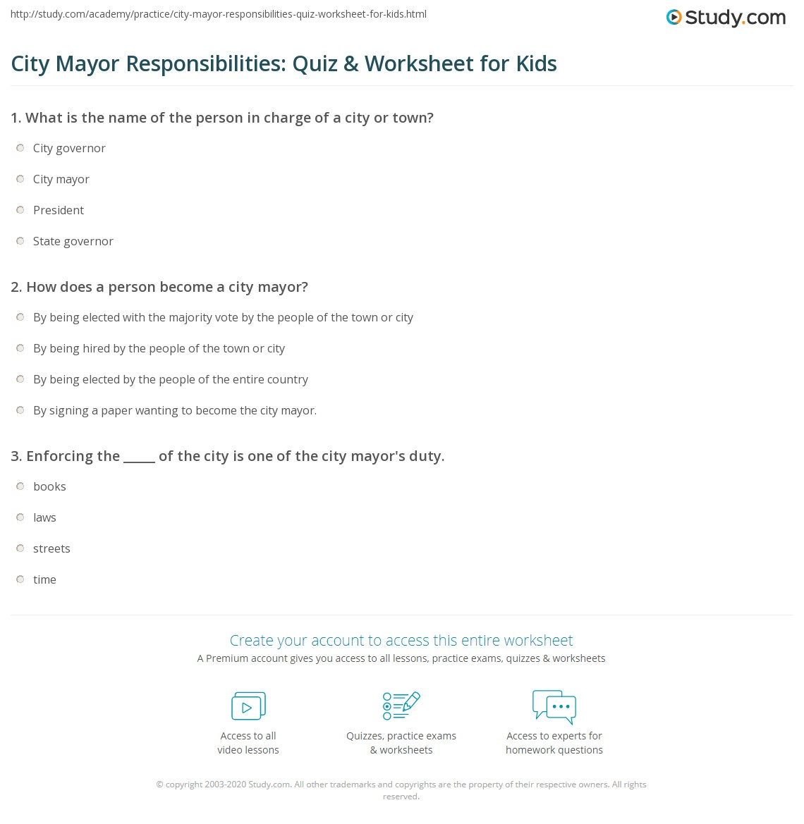 City Mayor Responsibilities Quiz Amp Worksheet For Kids