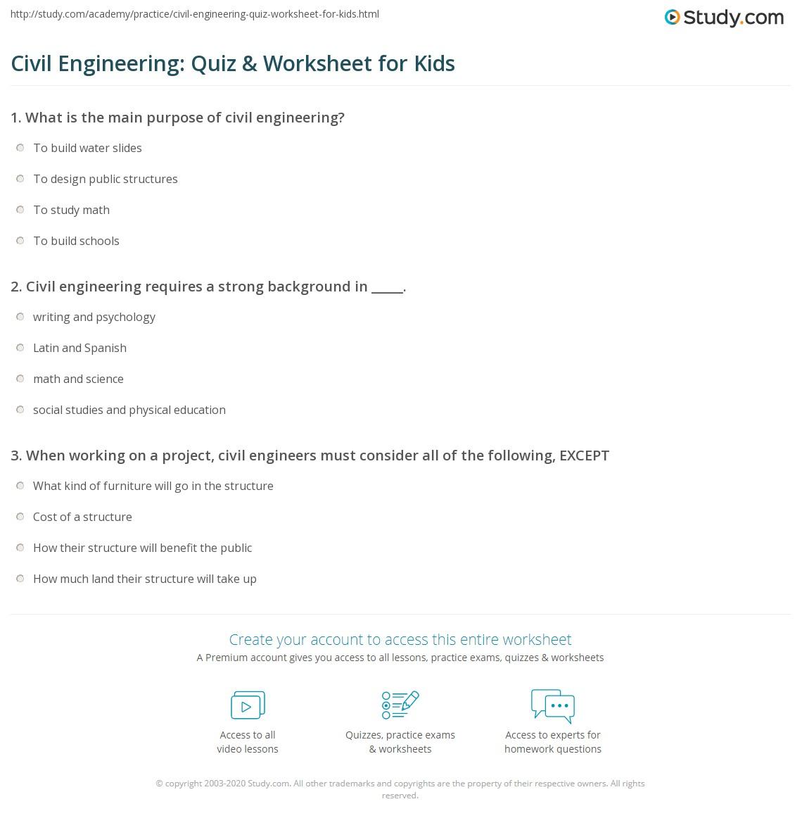 Civil Engineering Quiz Amp Worksheet For Kids