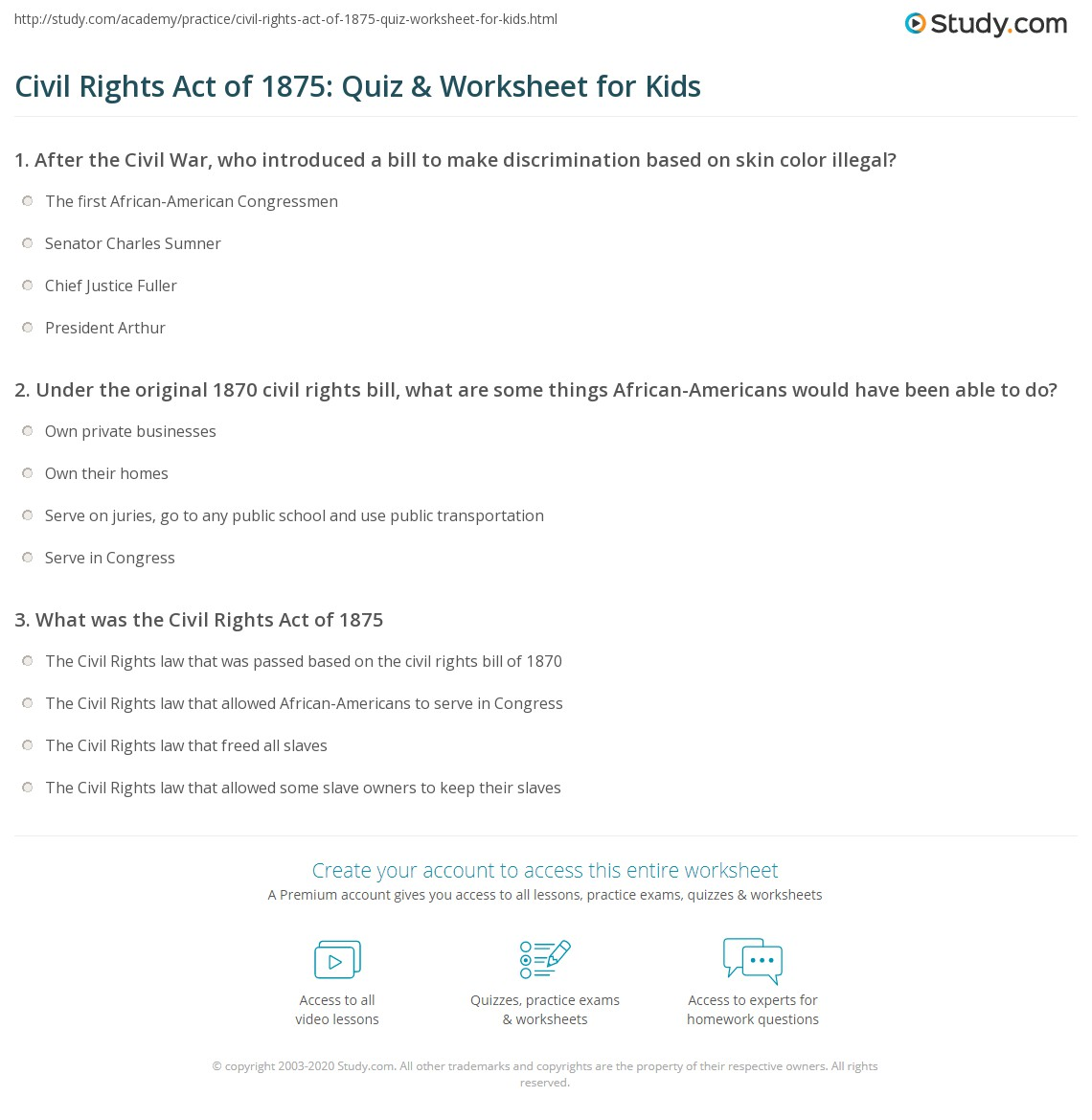 Civil Rights Act Of Quiz Amp Worksheet For Kids