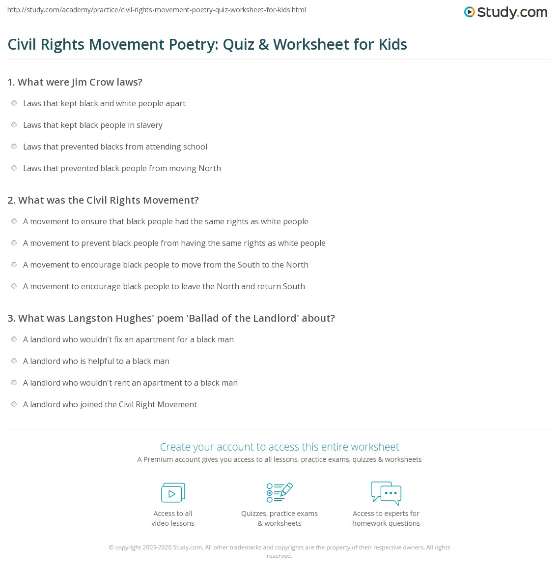 Civil Rights Movement Poetry Quiz Amp Worksheet For Kids