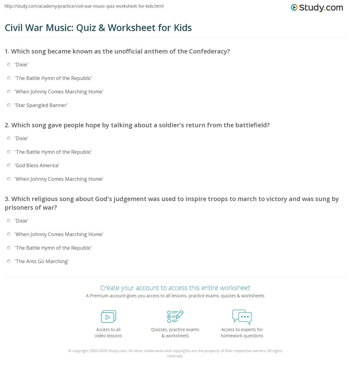 Civil War Music Quiz Amp Worksheet For Kids